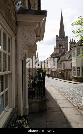 The Georgian buildings of Barn Hill with All Saint's and St Mary's churches in the background, Stamford, Lincolnshire, - Stock Photo