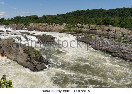 Great Falls of the Potomac and Mather Gorge viewed from the Virginia side - Stock Photo