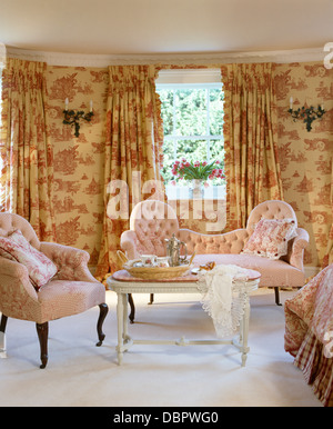 Curtains Ideas curtains matching wallpaper : Pink Toile-de-jouy Curtains On Window In Cream Country Bedroom ...