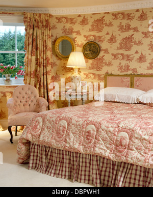 Curtains Ideas curtains matching wallpaper : Pink Toile-de-jouy Curtains And Matching Wallpaper In Country ...