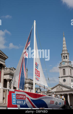 London,UK,2nd August 2013, Round The World Clipper Race takes place in September, one of the 70ft Ocean Racing yachts - Stock Photo