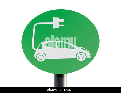 Green sign indicating a charging point for electric vehicles, isolated on white with clipping path. - Stock Photo