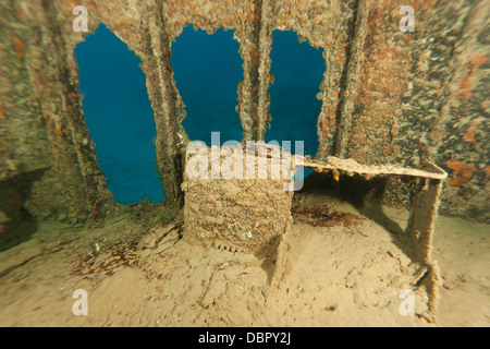 Desk inside the Prince Albert Wreck off the island of Roatan, Honduras. - Stock Photo