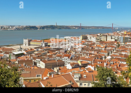 Panoramic view of Lisbon, on the river Tagus, Alfama district, Portugal. - Stock Photo