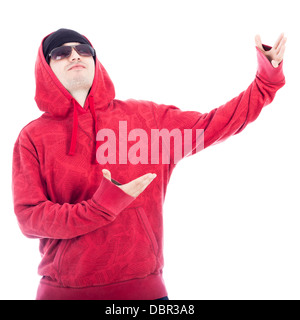 Hip-Hop style man looking up, isolated on white background. - Stock Photo