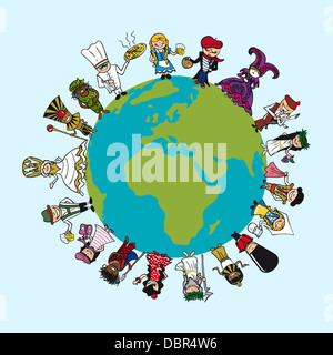 World map diversity people cartoons with distinctive outfit vector world map diversity people cartoons with distinctive outfit concept illustration vector file layered for gumiabroncs
