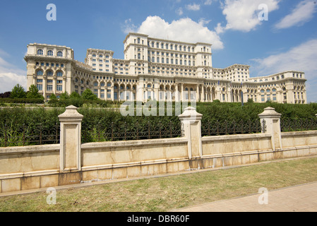 Palace of the Parliament in Romanian capital city of Bucharest - Stock Photo
