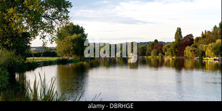 View of the Thames at Cookham. This panoramic was shot for the backdrop for Hay Fever at the Rose Theatre Kingston. - Stock Photo