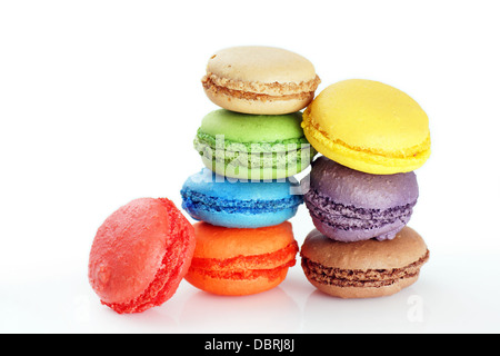 Fun and colorful stacks of macaroons on white - Stock Photo