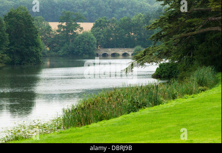 View of the Capability Brown Park at Compton Verney in Warwickshire England - Stock Photo