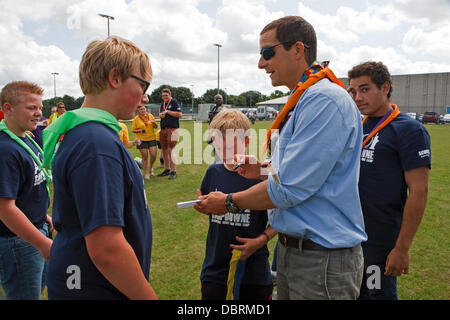 Downe, UK. 3rd August 2013. Bear Grylls signed autographs during his visit to Campdowne 2013 in Downe scout Activity - Stock Photo
