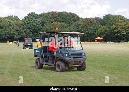 Downe,UK,3rd August 2013, David Walliams drove a buggy during a visit to Campdowne 2013 at Downe Scout Activity - Stock Photo