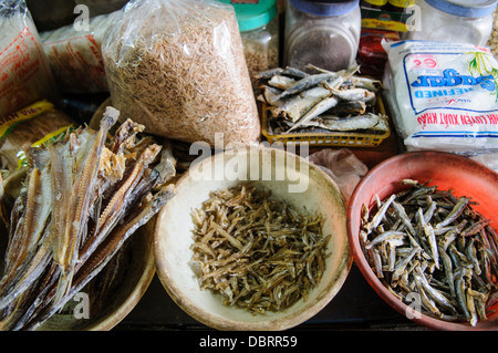 HANOI, Vietnam - Dried fish for sale at a morning market in Hanoi, Vietnam. - Stock Photo