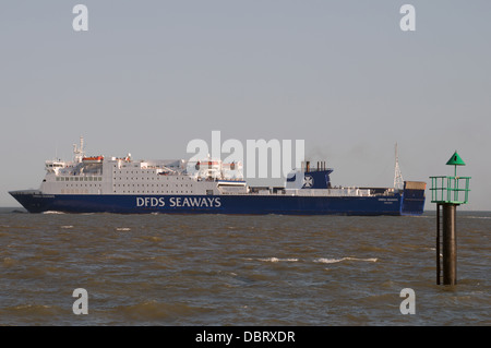 DFDS Seaways car ferry 'Sirena Seaways' on route to Esbjerg in Denmark from Harwich, Essex, UK. - Stock Photo