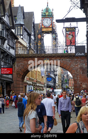 The Eastgate Clock on the city walls in Chester, England, UK - Stock Photo
