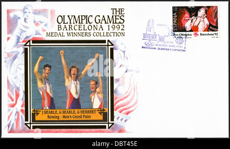Postage stamp commemorative first day cover of the Medal Winners Collection from the 1992 Barcelona Olympic Games - Stock Photo