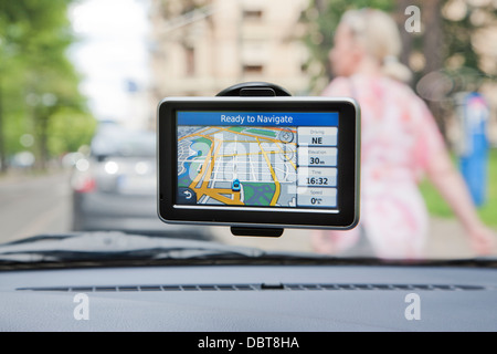 Close up of global positioning system in car - Stock Photo