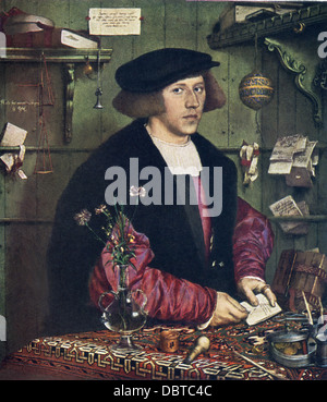 Hans Holbein the Younger (1497-1543), outstanding artist of German Renaissance, painted George Gisze. - Stock Photo