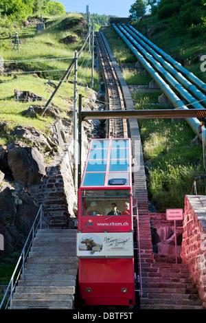 Switzerland, Canton Ticino, Ritom-Piora, Cable car rope - Stock Photo