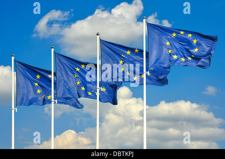 European Union flags over sky background - Stock Photo
