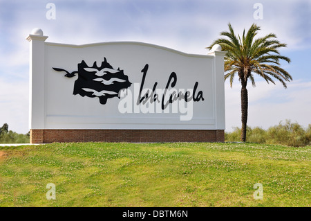 Sign at the entrance of Isla Canela, in Spain - Stock Photo