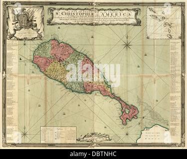 Map of St. Christopher (Saint Kitts) - Caribbean, 1753 - Stock Photo