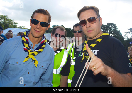 Bear Grylls and David Walliams visit the Kernow Scout Jamboree to endorse and promote the work of the UK Scouting - Stock Photo