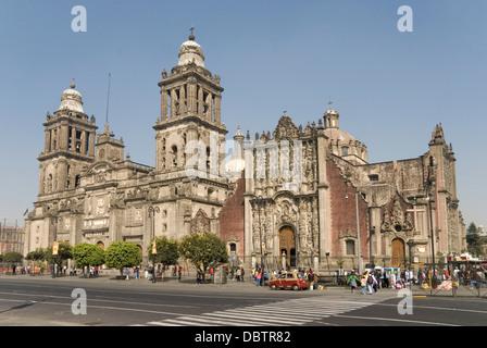 Catedral Metropolitana, Zocalo (Plaza de la Constitucion), Mexico City, Mexico, North America - Stock Photo