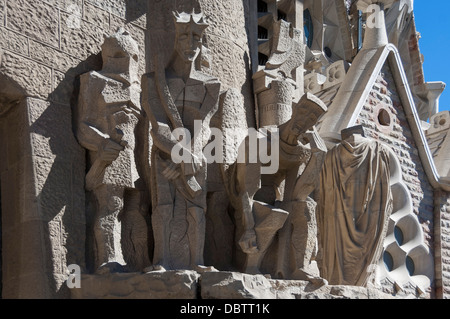 Tableaux in carved stone near the entrance to Sagrada Familia, Barcelona, Catalunya, Spain, Europe - Stock Photo