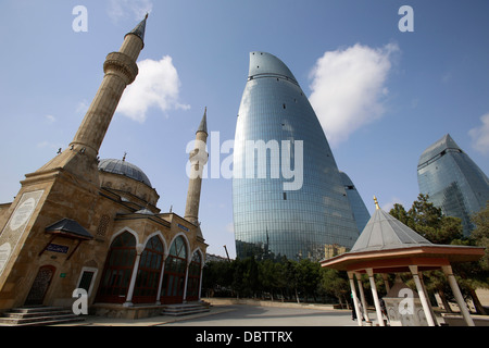 Shehidler mosque and the Flame Towers, Baku, Azerbaijan, Central Asia, Asia - Stock Photo