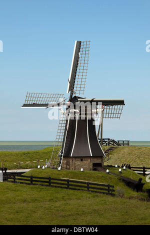 Typically Dutch Polder mill at the  Zuiderzee Museum, Enkhuizen, North Holland, The Netherlands. - Stock Photo
