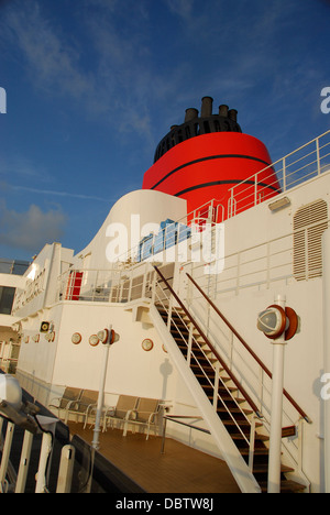 Upper deck with smoke stack on the Cunard Line Queen Elizabeth Ship - Stock Photo