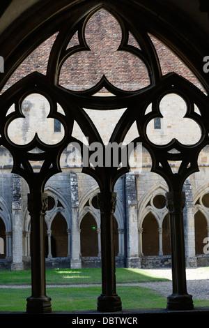 The Cloister, The Cistercian Abbey of Noirlac, Bruere-Allichamps, Cher, Centre, France, Europe - Stock Photo