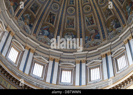 Dome and frescoes in St. Peter's Basilica, Vatican, Rome, Lazio, Italy, Europe - Stock Photo