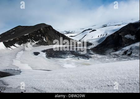 Volcano crater at Deception Island, South Shetland Islands, Antarctica, Polar Regions - Stock Photo