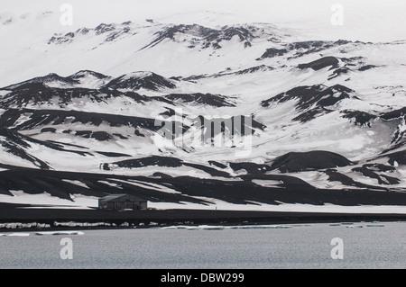 Old abandoned whaling station, Deception Island, South Shetland Islands, Antarctica, Polar Regions - Stock Photo