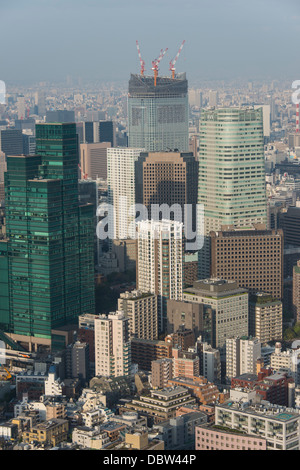 View over Tokyo from the Mori Tower, Roppongi Hills, Tokyo, Japan, Asia - Stock Photo