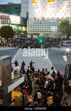 People waiting on the busiest street crossing, Shibuya crossing, Tokyo, Japan, Asia - Stock Photo