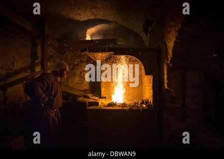 Blacksmith work with fire - Stock Photo