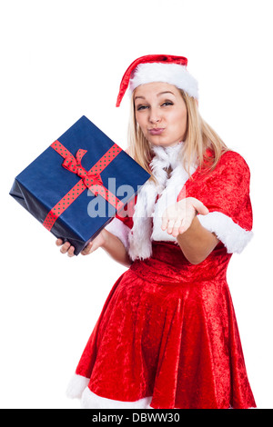 Thankful Christmas woman with present sending kiss, isolated on white background. - Stock Photo