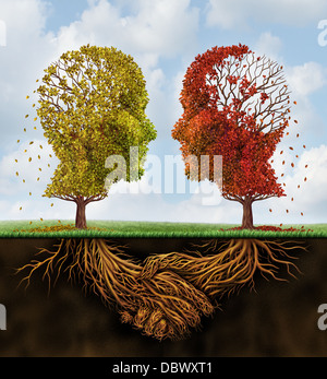 Fading team business concept with two autumn trees losing leaves in the shape of human heads with roots underground - Stock Photo