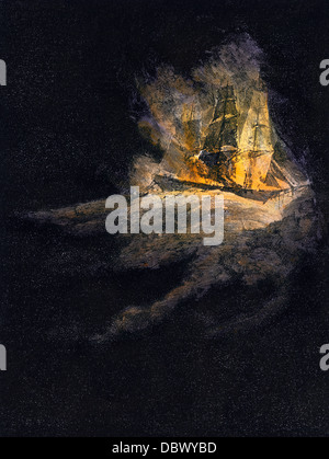 Phantom burning ship reported by sailors. Hand-colored woodcut - Stock Photo