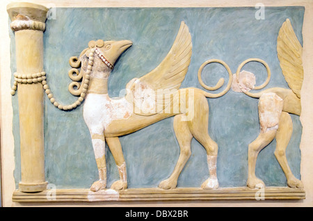 The fresco of high-relief tethered to columns decorated the 'Great East Hall' of the palace of Knossos. The decoration - Stock Photo