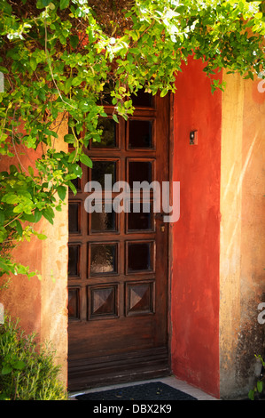 Colorful Provence house entrance door - Stock Photo