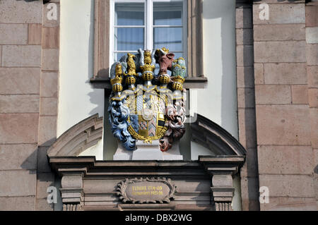 (dpa-file) - A handout file picture dated 29 December 2012 shows an emblem of the town hall in Heidelberg, Germany. - Stock Photo