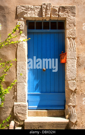 Blue Provence house entrance door - Stock Photo