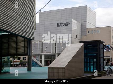 iMax Pathe cinema Schouwburgplein square Rotterdam Netherlands designed by Adriaan Gueze Stock Photo
