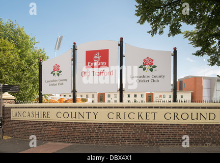 Sign for Emirates Old Trafford at Lancashire County Cricket Ground in Manchester, Lancashire, England, UK, Britain - Stock Photo
