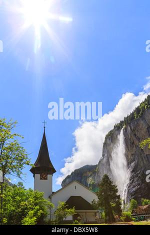 Church in Lauterbrunnen, Bernese Oberland, Switzerland. - Stock Photo