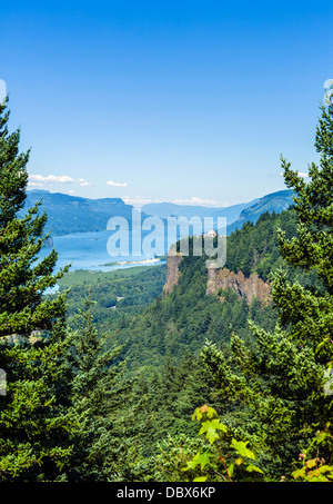 View over Columbia River Gorge from historic Columbia River highway looking towards Crown Point , Oregon, USA - Stock Photo